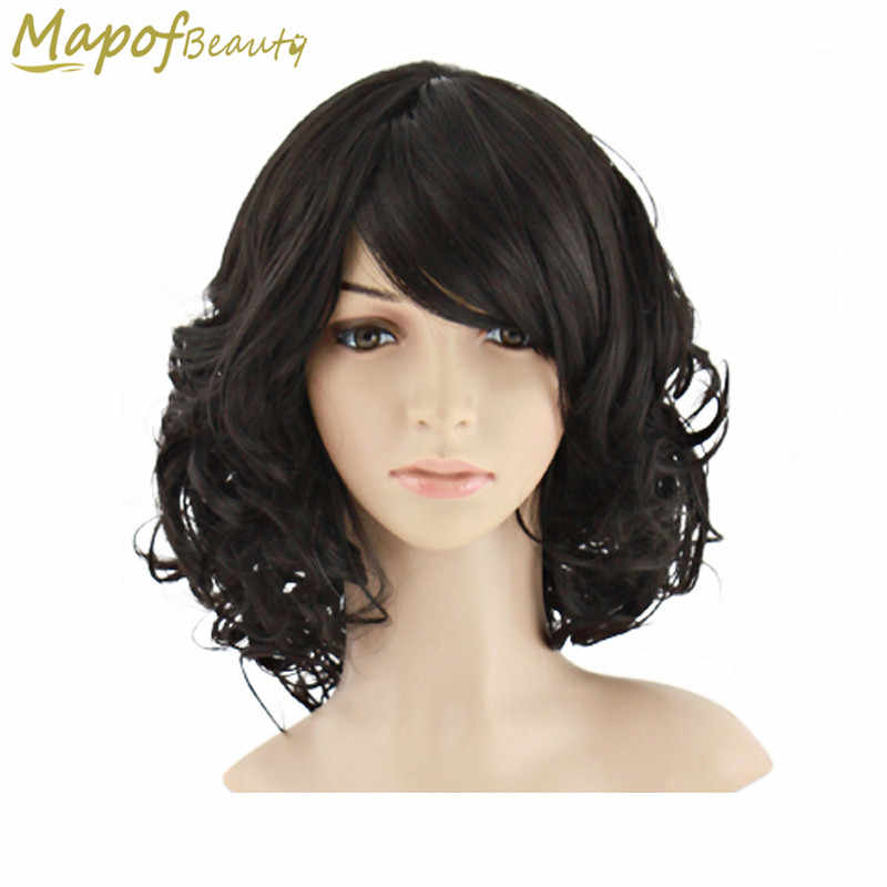 "MapofBeauty 14"" Short Curly Black Brown Gold Blue White Heat Resistant Fiber Wigs For Women Synthetic Hair Cosplay Wig Peruca"