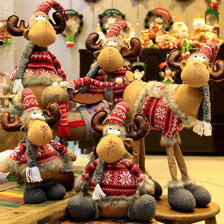 Christmas Decorations Plush Elk Standing Telescopic Doll