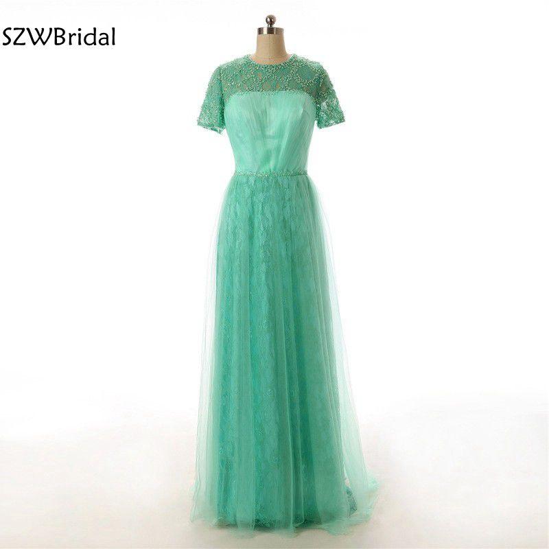 Nouveauté robe de soirée à manches courtes en dentelle verte perlée col haut Abendkleider robe formelle robe de soirée robes de festa