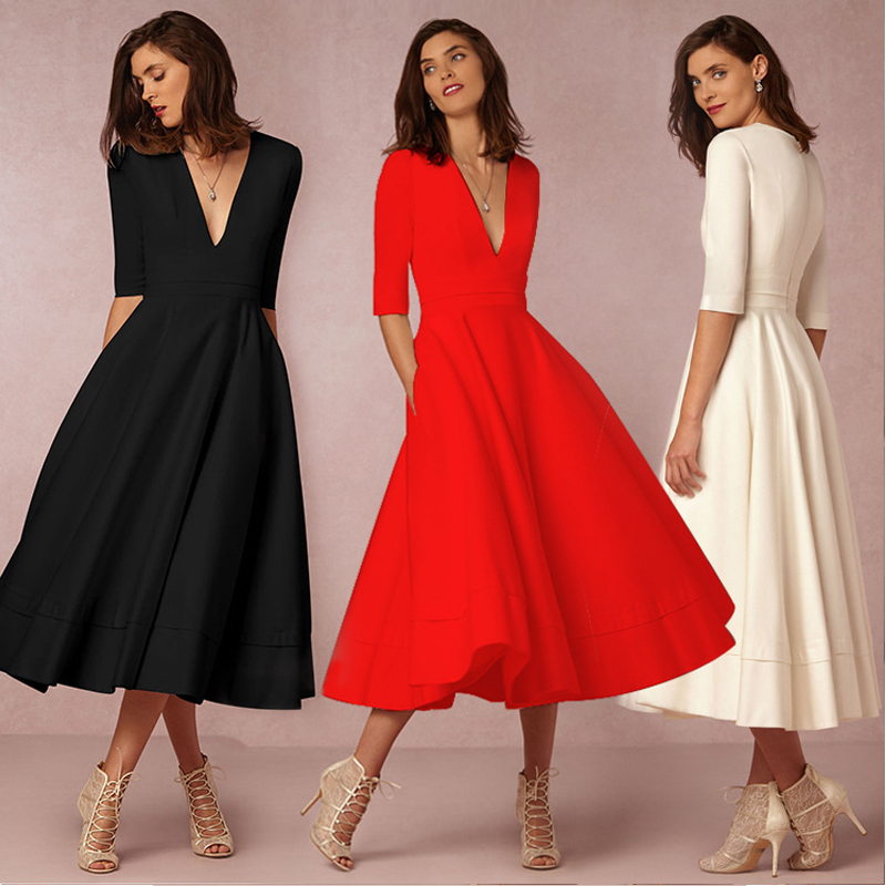 Vintage Spring Winter Dress Women 2019 Casual Plus Size Elegant Ball Gown  Party Dresses Female Sexy V Neck Long ... f9d28d0c9d34