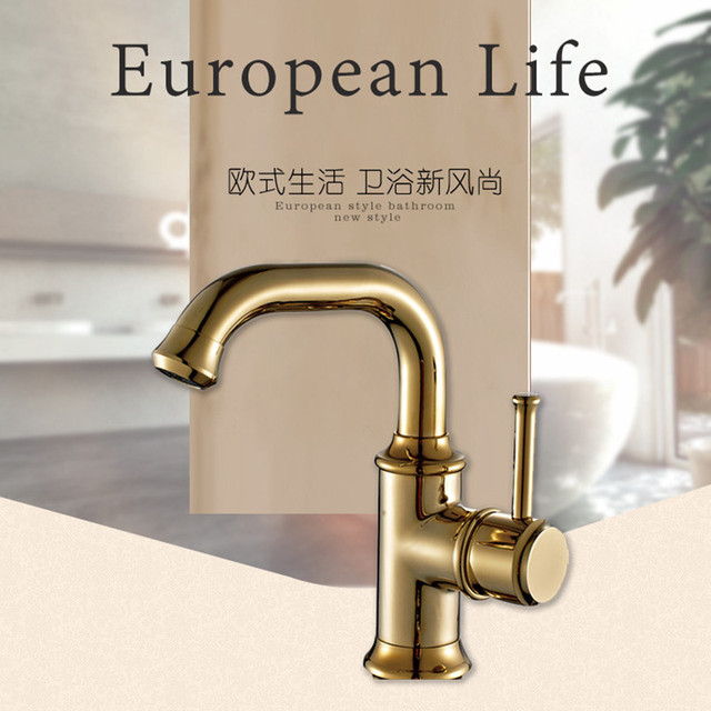 Free Shipping Factory Wholesale Gold Basin Mixer Tap With Solid Brass  Bathroom Mixer Tap Of Solid