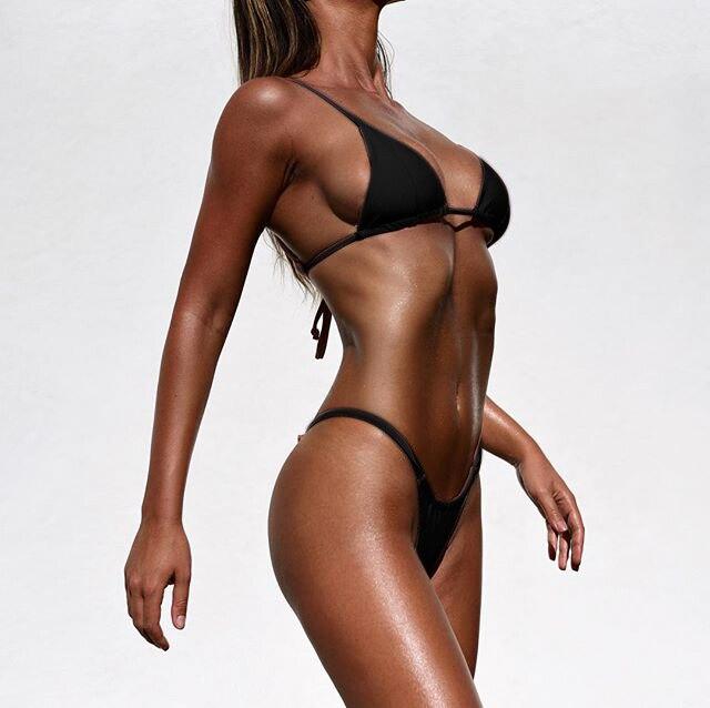 Suittop Sexy Mini Bikini Micro Swimwear Solid Brazilian Thong Bikini Set Triangle Top Bathing Suit Womens Swimming Suit Biquini