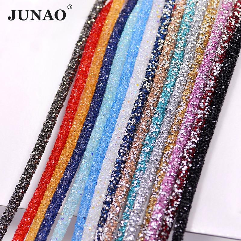 JUNAO 1 Meter Resin Tube Rhinestones Chain Trim Crystal Beads - Өнер, қолөнер және тігін - фото 2