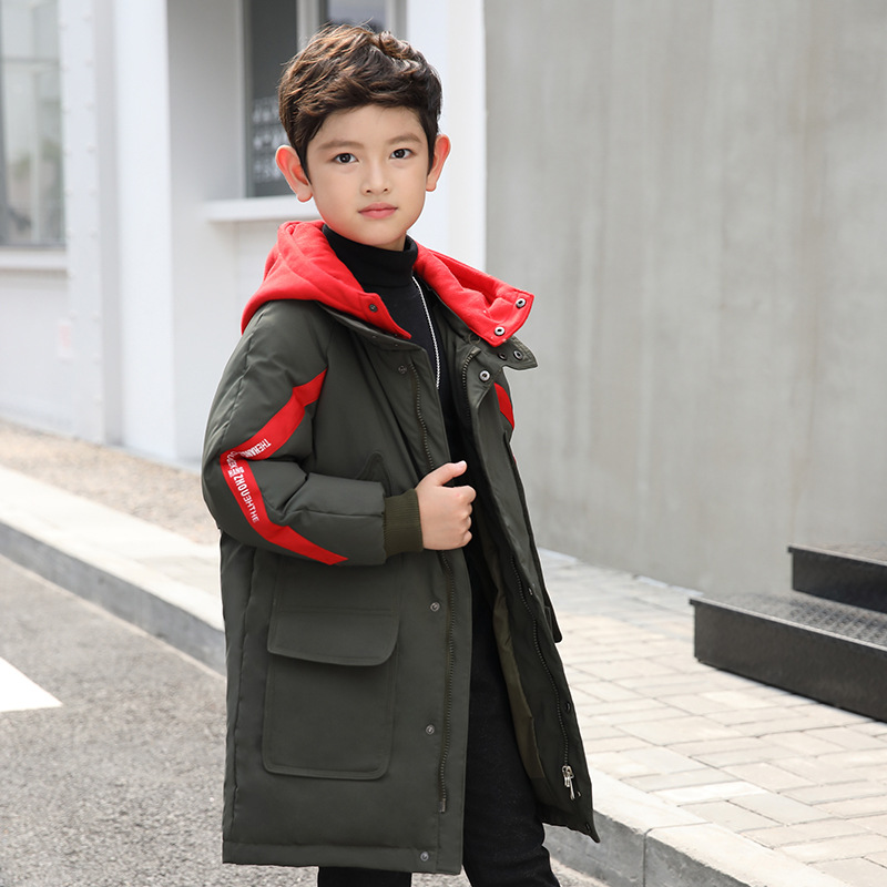 Winter Coat for Boy Made of Goose Feather Color Block Hooded Jackets 6 8 10 12 14 years 2018 Warmly Parks for Boy pu leather closure color block hooded coat