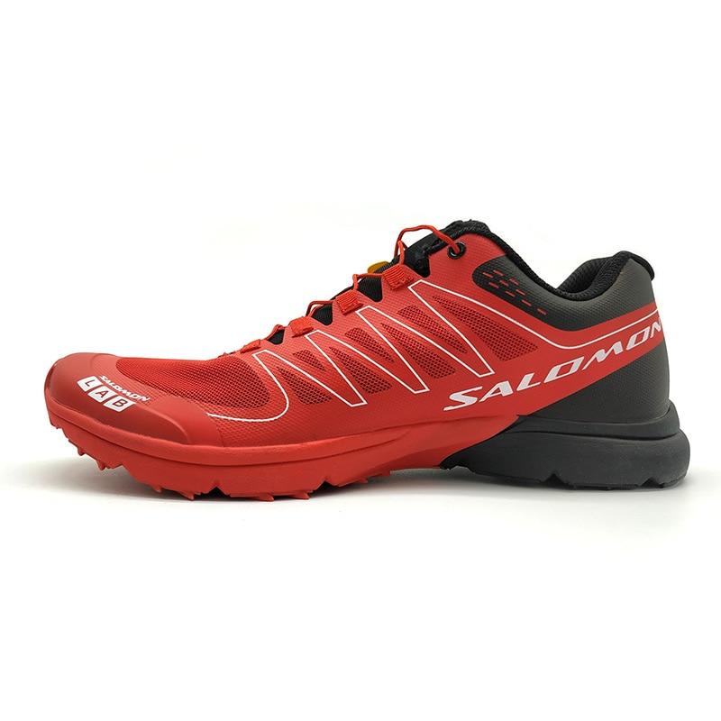 New red Salomon S-LAB SENSE M Men's Shoes Outdoor Jogging Sneakers Lace Up Athletic Shoes running Shoes Men's Shoes size 40-48 colour block lace up splicing athletic shoes