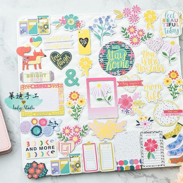 Kscraft beautiful day foil paper cardstock die cut stickers for diy scrapbooking photo album decoration