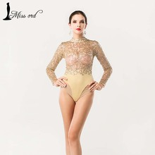 Free Shipping  Missord 2015 Sexy O-neck long-sleeved sequin bodysuit playsuit FT4384