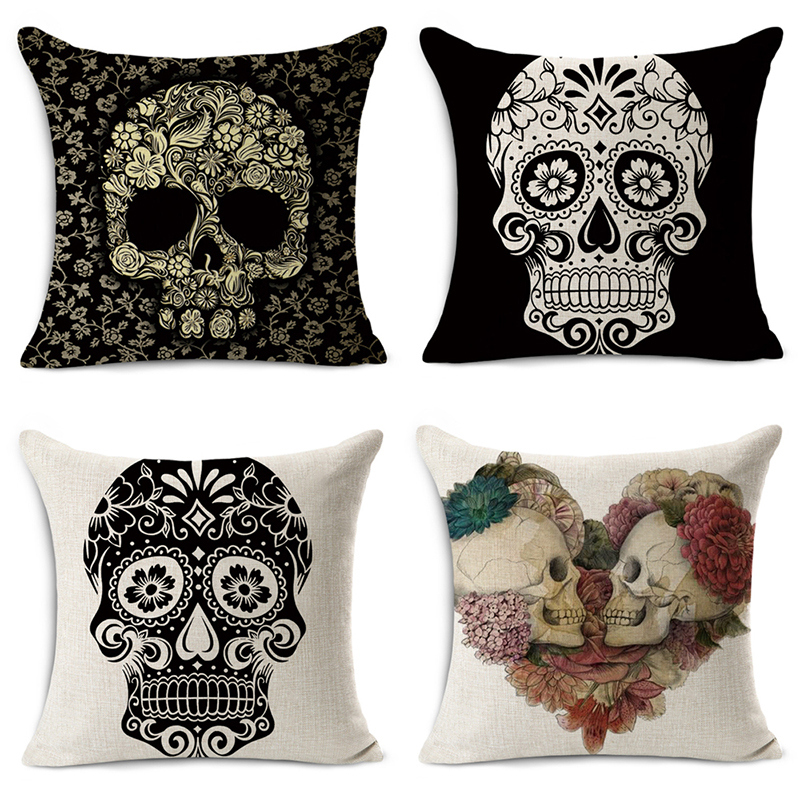 Mexican Style Cushion Covers Skull Pattern Beauty 1 side Printing Car Rear Seat Home Sofa Decoration Throw Pillow Cases 45*45cm