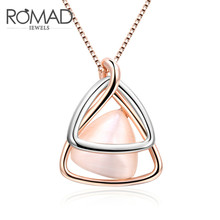 hot deal buy triangle necklaces dual silver rose gold color cat's eye stone simple creative necklaces & pendants for women all-match jewelry