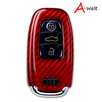 Red New High Quality New Real Carbon Fiber Auto Remote Flip Key Case Fob Holder Skin