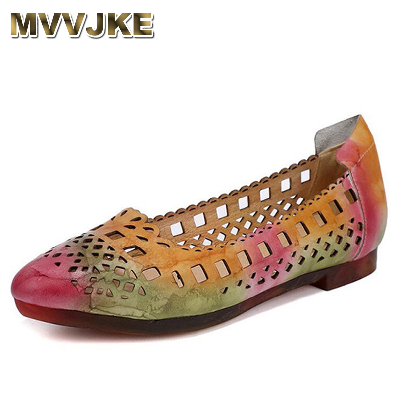 MVVJKE Genuine leather summer ballet women flats shoes female casual flat shoes women loafers shoes slips women's shoes E139 2018 new genuine leather flat shoes woman ballet flats loafers cowhide flexible spring casual shoes women flats women shoes k726