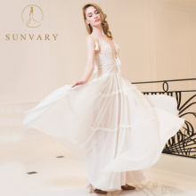 Sunvary A-Line Pearl Wedding Dresses Manik-manik Lantai-Panjang Berlian Imitasi Bridal Dress Chiffon Serut Lace-Up Ruffles V-Neck Gown