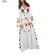 2019 new hot retro Indie Folk print v-neck long dress unique tassel design spring summer V-neck loose high quality