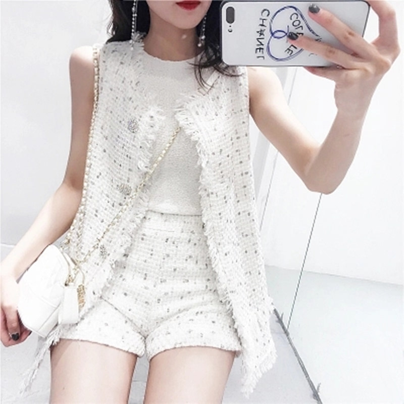 High Quality Autumn Newest Sets 2019 Sleeveless Tops And Skirts Set Ladies Fashion Tassels Tweed Suits 2 Piece Set Women