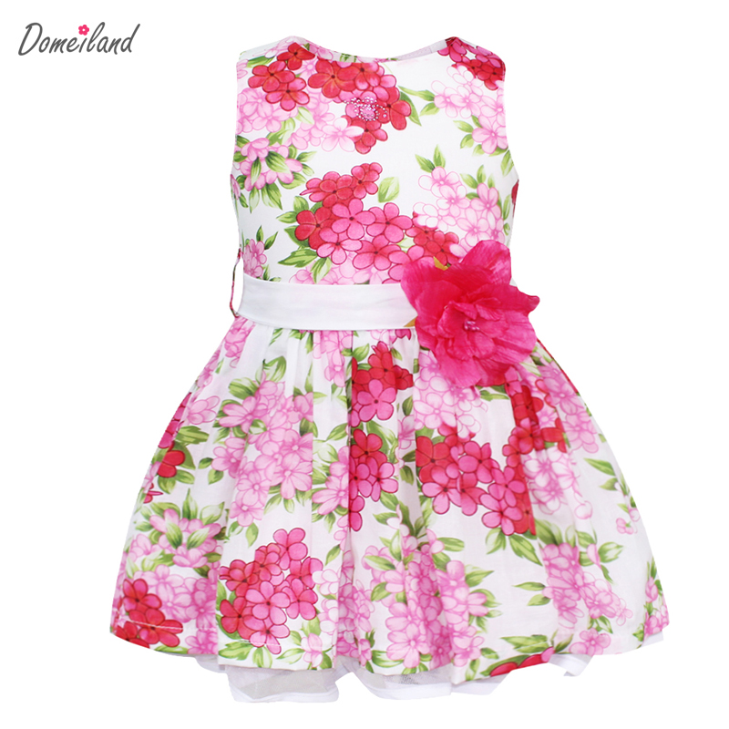 2017 summer children clothing for brand domeiland cute kids girls sleeveless cotton Princess Floral print party