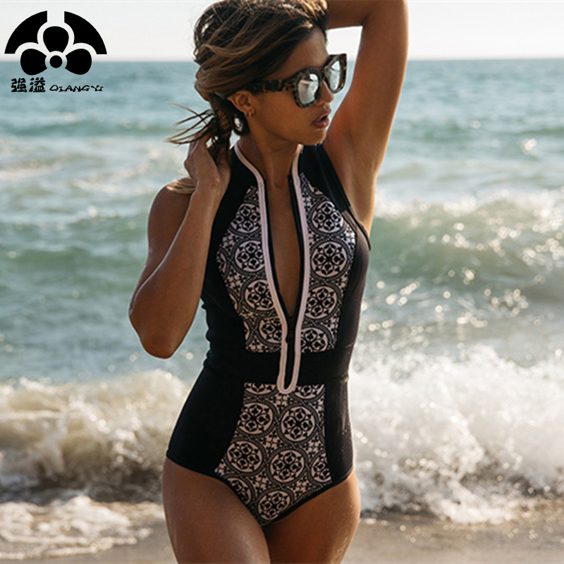 QIANG YI 2018 One Piece Swimwear Women Swimsuit Zipper Retro Print Push Up Bathing Suit Beach Bikini Vintage Biquini Female New женский закрытый купальник swimwear new brand 2015 sml westido biquini women one pieces