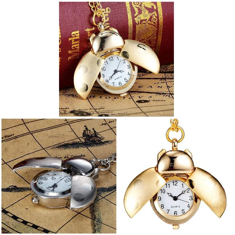 Fashion Beetle Shape Quartz Pocket Watch Necklace Pendant Clock Chain Jewelry Gifts LL@17