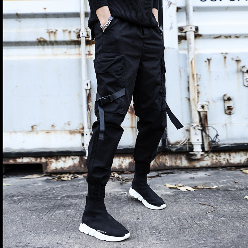 Streetwear Ribbons Casual Pants Men Black Slim Mens Joggers Pants Side-pockets C