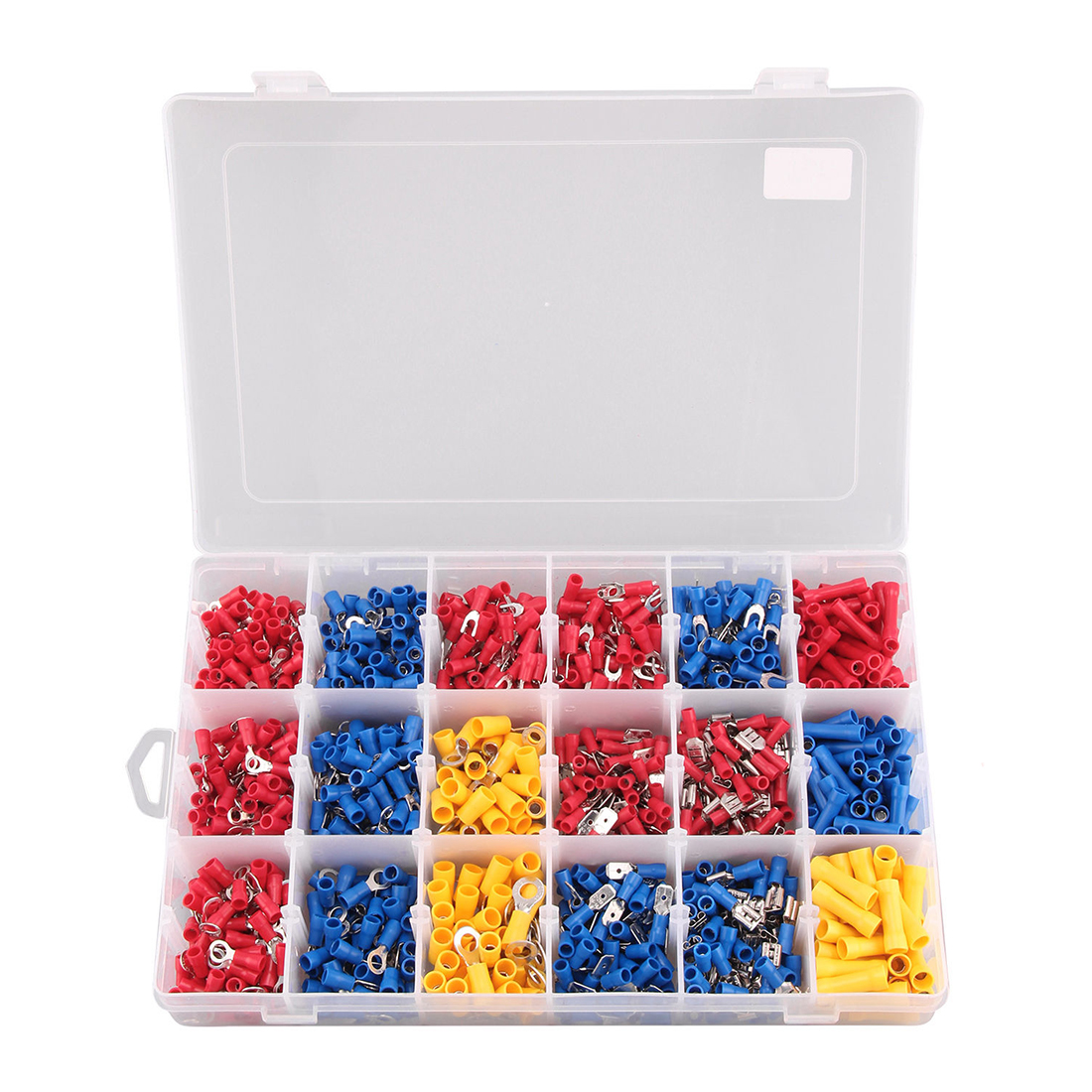 1200 X Assorted Insulated Electrical Wire Terminal Crimp Connector Spade Set Box 1200 pcs mixed assorted lug kit insulated electrical wire connector crimp terminal spade ring set clh