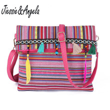 Jiessie&Angela New National Style Canvas Bag Fashion Women Crossbody Leather Handbag And Purse Messenger Bolsas