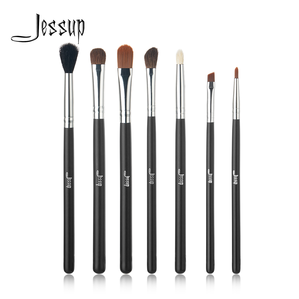 Professional 7pcs Black/Silver Jessup Brand Makeup Brushes Set Beauty Eyeshadow Concealer Blending Cosmetics Make up Tools Kit 8pcs makeup brushes cosmetics eyeshadow eyeliner brush kit 15 color concealer facial care camouflage makeup palette sponge puff