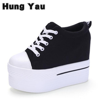 Wedges Canvas Shoes Woman Platform Vulcanized Shoes Hidden Heel Height Increasing Casual Shoes Female Chaussure Femme