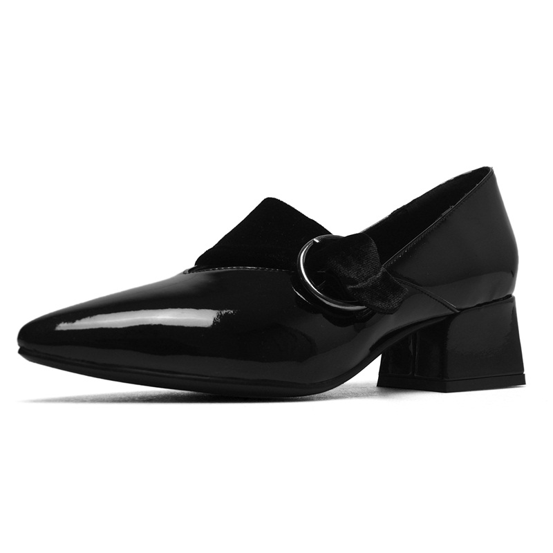 VANKARING fashion women shoes sexy high heels pumps high quality patent leather pointed toe buckle strap shoes woman dress pumps