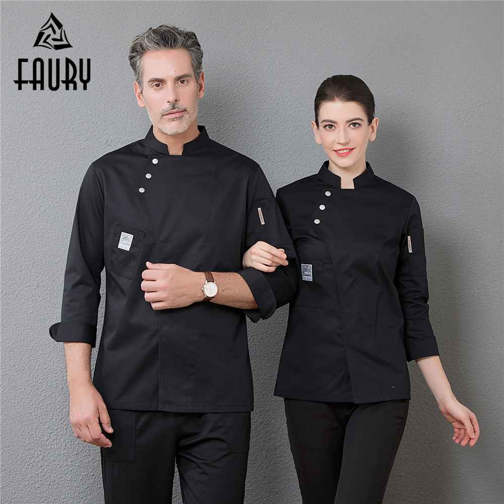 Professional Restaurant Top Chef Uniforms Men's Long Sleeve Master Cook Jacket Kitchen Cuisine Bakery Cafe Hotel Waiter Overalls