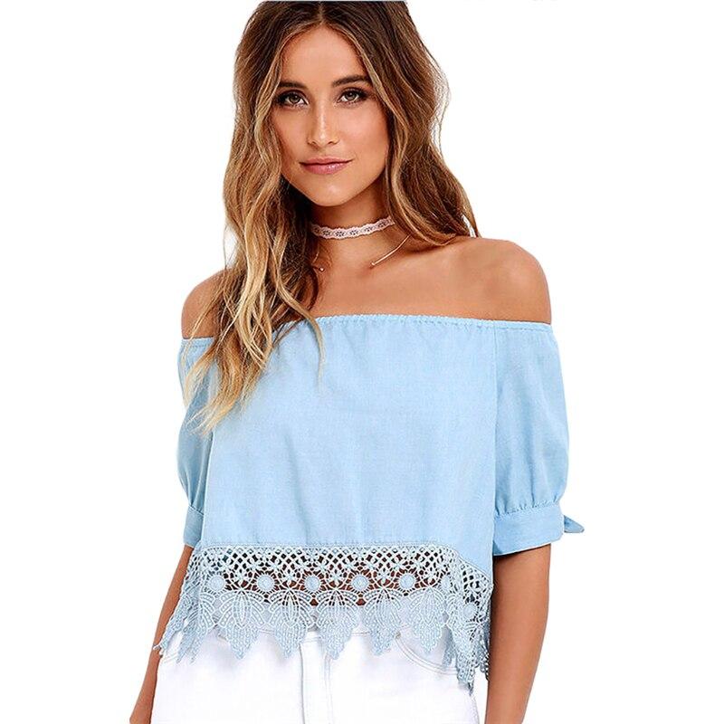 Elegant Blue Off Shoulder Female Blouse Shirt Sexy Summer 2017 Blouse Women Tops Half Sleeve Crochet Lace Blusas Camisa Feminina