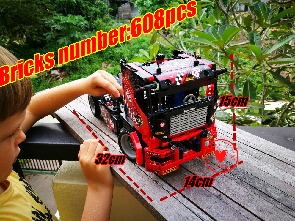 New 3360 Race racing Truck Car 2 In 1 Model Building kits Blocks bricks compatible legoes technic gift kid Set diy Toys boys 608pcs race truck car 2 in 1 transformable model building block sets decool 3360 diy toys compatible with 42041