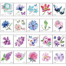 20pcs/lot Small fresh Flower Temporary Tattoos Sticker Floral Rose Peony Butterfly Tatoo Body Art Water Transfer Fake