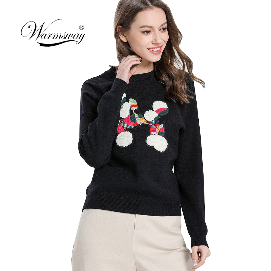 Warmsway Sueter Mujer 2020 New Autumn Sweater Women Preppy College Pullover For Girl Long Sleeve Black Knitted Jumper C-378 image