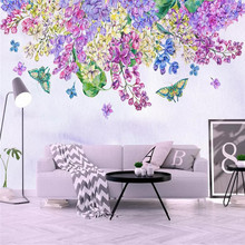 Nordic wallpaper simple hand-painted purple flowers butterfly TV background wall professional production mural photo