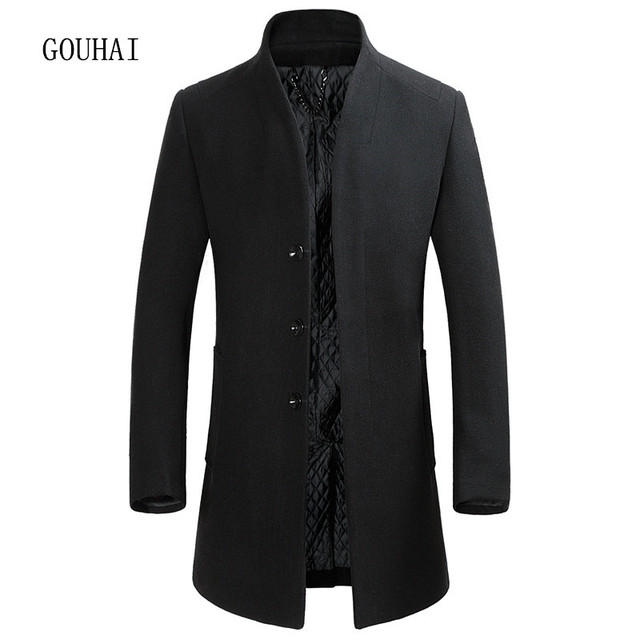 Fashion Men's Wool Coat Male Cashmere Outerwear Single Breasted Winter Business Trench Men M-XXXL Man Long Jacket Top Quality