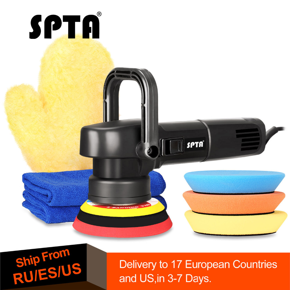 SPTA 5 Inch 125mm 8mm Dual action polisher DA Polisher Car Polisher & Polishing Pads Microfiber Towel Glove Set For Auto Polish