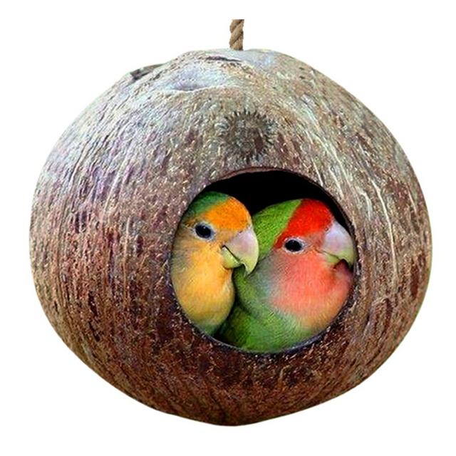 Natural Coconut Shell Bird Cages Parrot House Nesting House Cage With Hanging Lanyard For Small Pet Parakeets Finches Sparrows 1