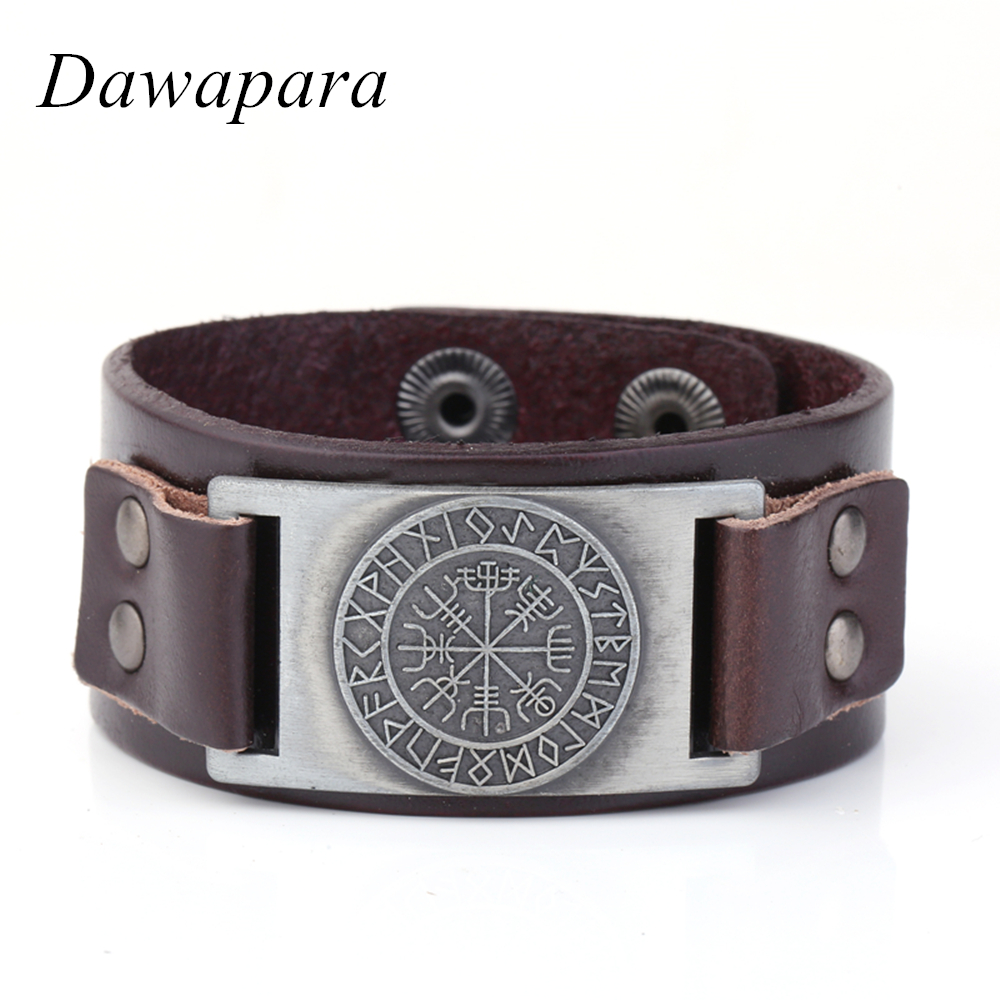 Dawapara Norse Runes Viking Wristband Genuine Leather Bracelet Awe Tray Snap Jewelry for Scandinavian Fashion Cuff Bangle intro vdc 013