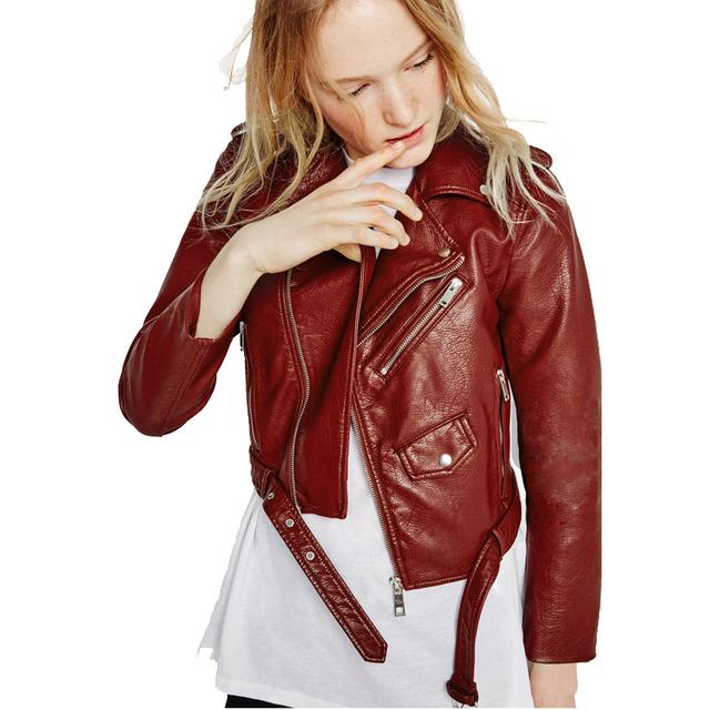 2017 Short Jacket Zipper Autumn Fashion Faux Leather Moto Biker Womens Leather Epaulet Belt Basic Coat where is my mind 802e