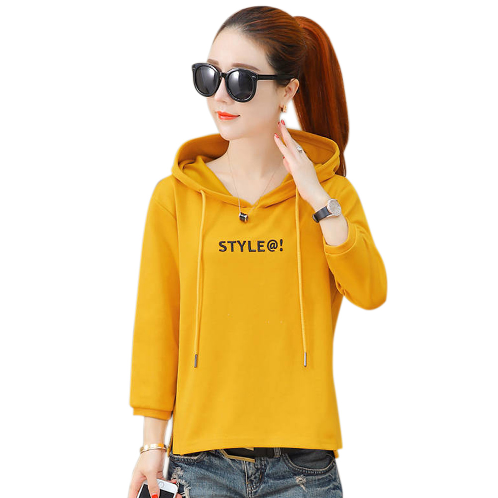 Women Autumn Hoodies Long Sleeves Pullover Letter Pattern Hooded Loose Tops -MX8