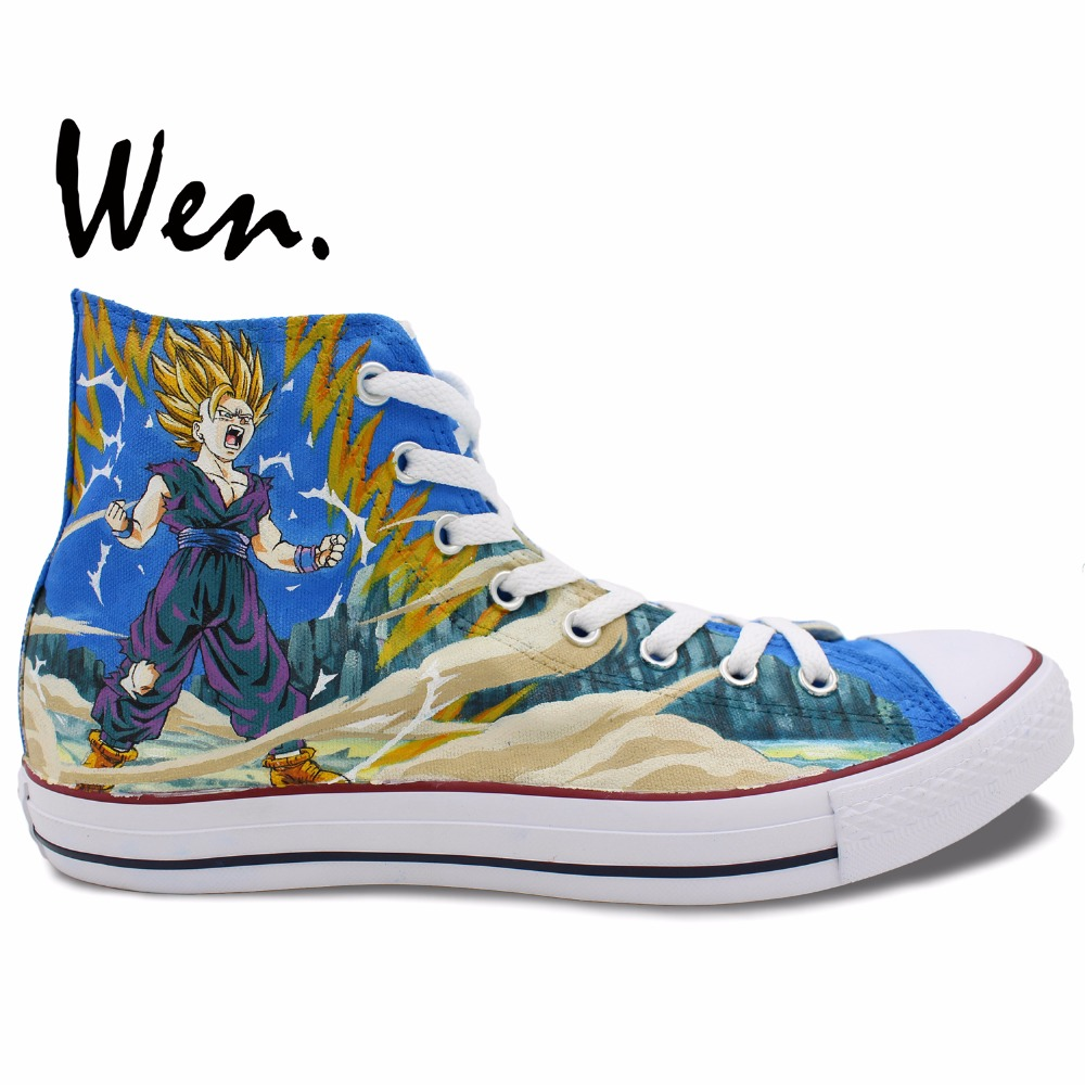 Wen Anime Hand Painted Shoes Design Custom Dragon Ball Son Goku Super Saiyan Men Women's High Top Anime Canvas Sneakers wen anime hand painted shoes design dragon ball son goku super saiyan high top male skateboard sneakers boy shoes canvas