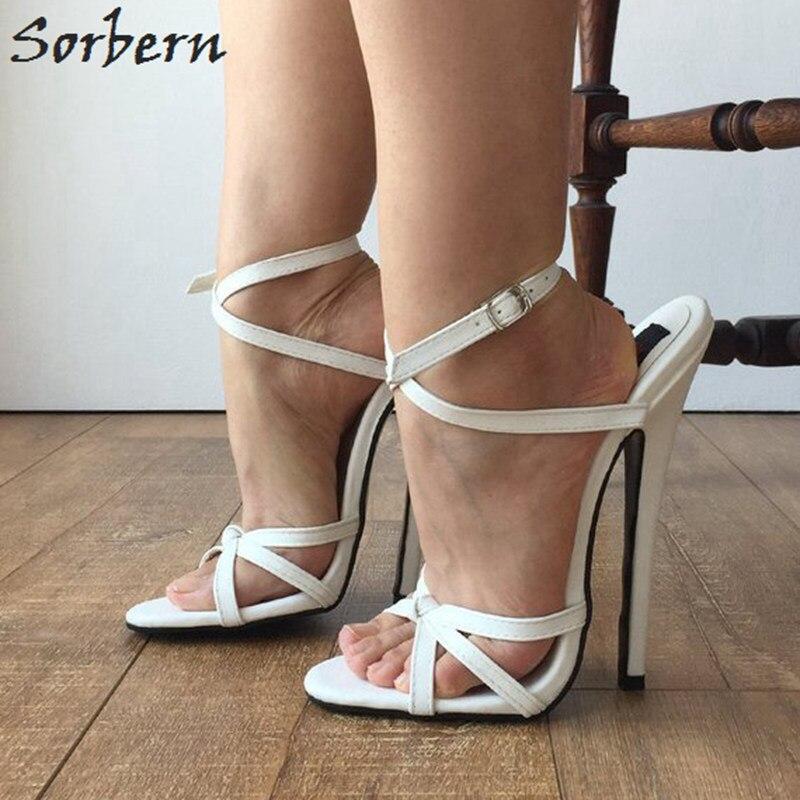 Sorbern Sexy Branco Slingbacks Sandálias Mulheres Cruz Amarrada Sapatos Espiga Sapatos De Salto Alto Sapatos Da Moda Tamanho Sapatos Sandálias Estiletes 12 - 3