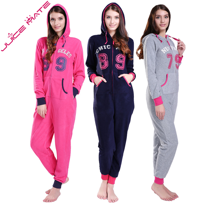 JuiceMate Plus Size All-in-One-Piece-Trainingsanzug Onesie Micro Fleece Letters Overalls Strampler Overall für Frauen