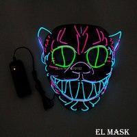 Оптовая продажа 10 шт. светящиеся светодиодные маска энергосбережения 10 цветов дополнительно EL маска питание от 2 AA батареи для Свадебные ук