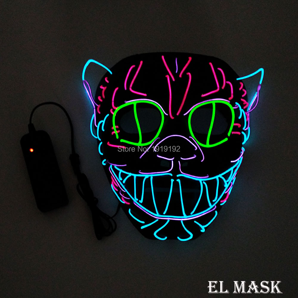 Wholesale 10 pcs glowing LED Mask Energy saving 10 Color optional el mask powered by 2-AA batteries For Wedding decoration