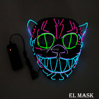 Wholesale 10 pcs glowing LED Mask Energy saving 10 Color optional el mask powered by 2 AA batteries For Wedding decoration