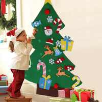 OurWarm 3mm Thick Felt Christmas Tree New Year Gift Door Wall Hanging Ornaments Christmas Tree Decoration Kids Educational Toys