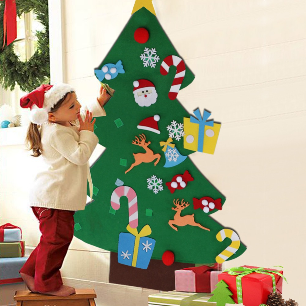 Ourwarm 3mm de feltro grosso árvore de natal presente do ano novo porta parede pendurado ornamentos decoração da árvore de natal crianças brinquedos educativos