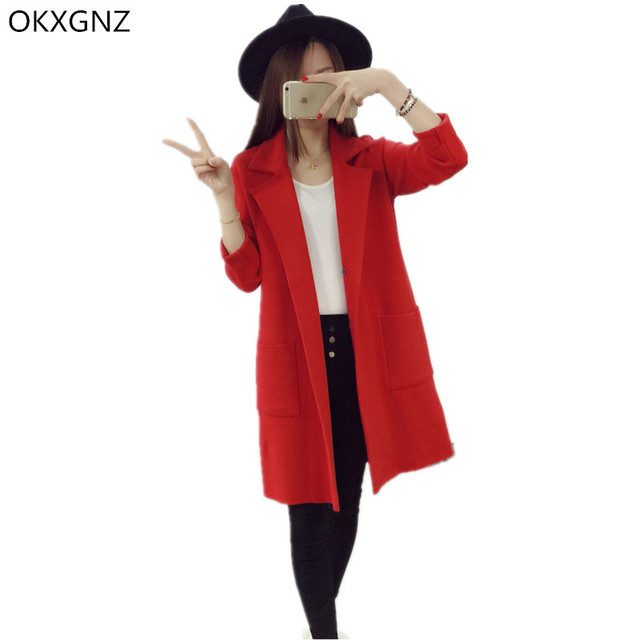 OKXGNZ Knitted Sweater Coat 2017 Spring New Korean Loose Wool Thick Knit Cardigan Solid Lapel Long Sleeves Women Tops Coat A142