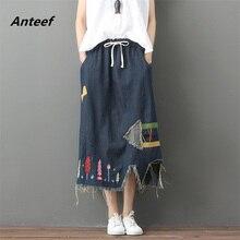 Винтажная юбка размера плюс с высокой талией весна лето saias femininas Повседневная Свободная длинная джинсовая юбка женские юбки женская одежда