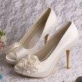 Wedopus MW184 Customized Women Wedding shoes Ivory Decoration Rose High Heeled